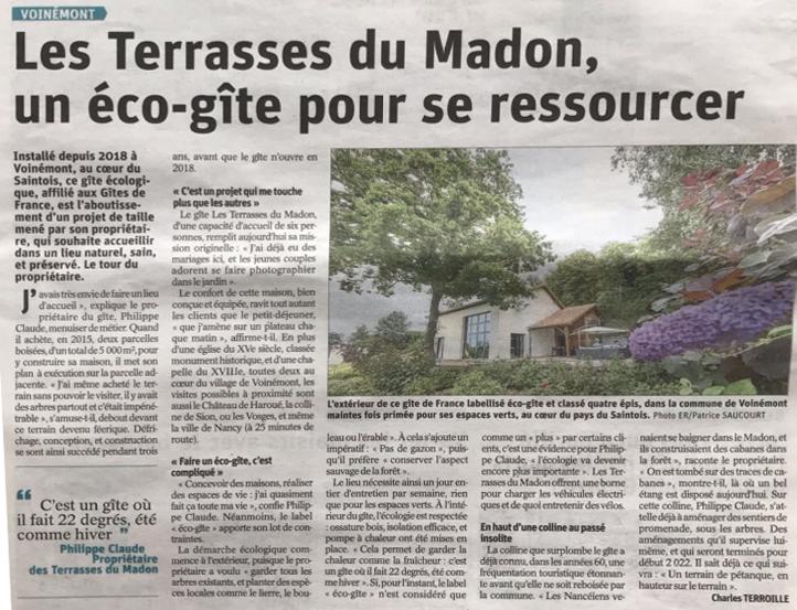 LES TERRASSES DU MADON A L'HONNEUR DANS L'EST REPUBLICAIN